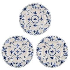 Three Royal Copenhagen Blue Fluted Lunch Plates