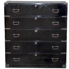 Chic Black Lacquered Pre-War Japanese Clothing Tansu Chest