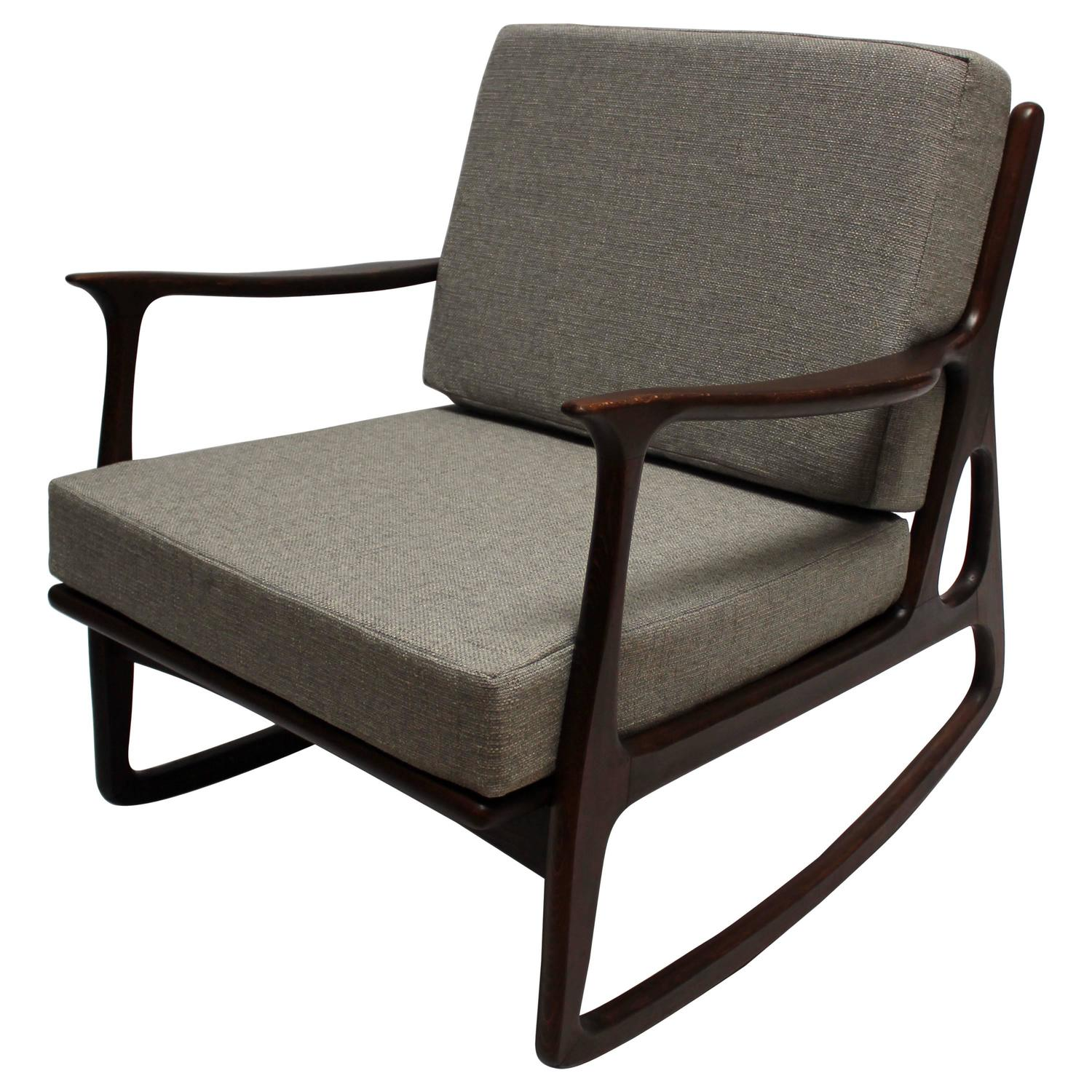Mid Century Modern Upholstered Chair Of Mid Century Modern Italian Upholstered Walnut Rocking