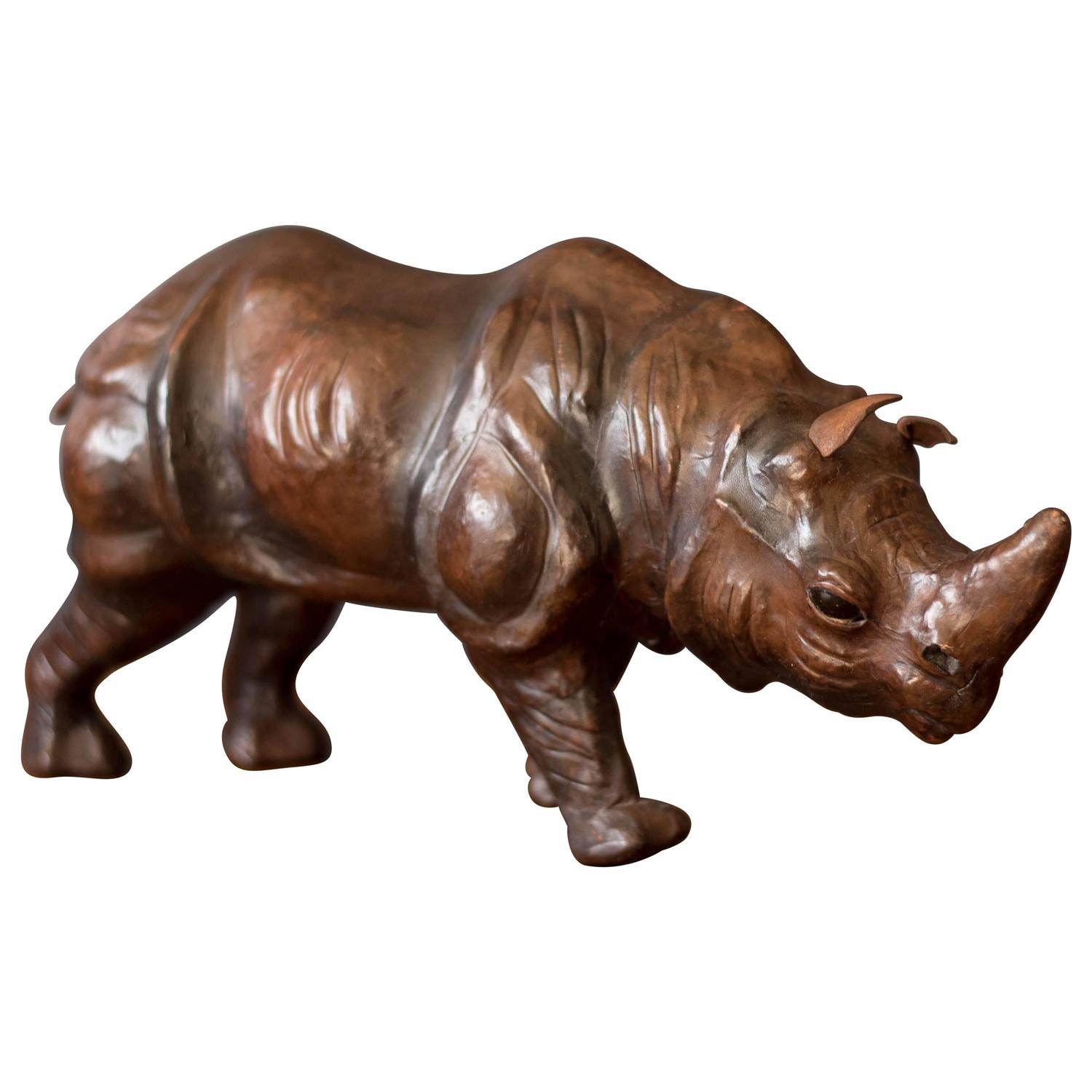 Vintage leather rhino sculpture for sale at stdibs