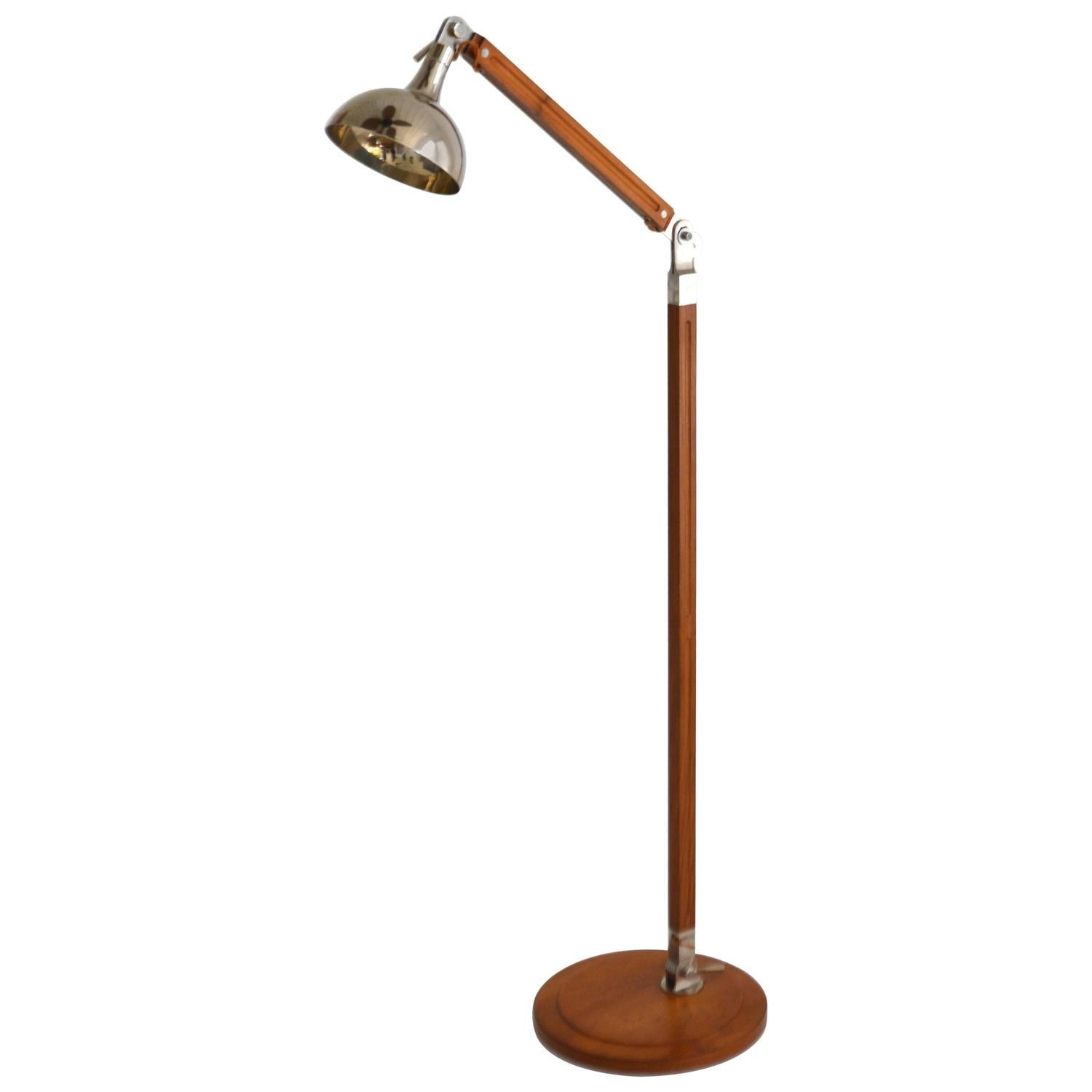 Post modern wood and nickel articulated floor lamp for for Modern timber floor lamp