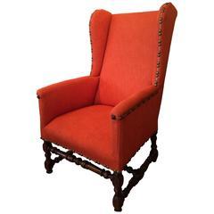 Rare 17th Century Louis XIV Period Wing Chair