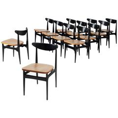 Set of 12 Black Wooden Dining Chairs