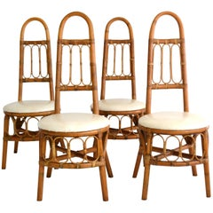 Set of Four Midcentury Bent Bamboo Game Table Chairs or Side Chairs
