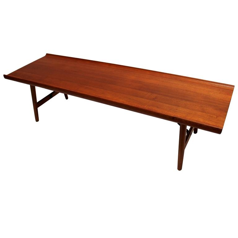 Scandinavian Teak Coffee Table: Danish Modern Solid Teak Coffee Table By Børge Mogensen