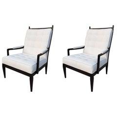 Pair of High Back Elegant Club Chairs