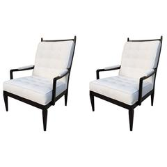Pair of Harvey Probber High Back Elegant Club Chairs