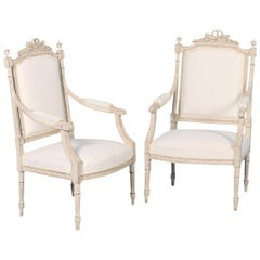 Pair of White Gustavian Armchairs from Sweden, circa 1840