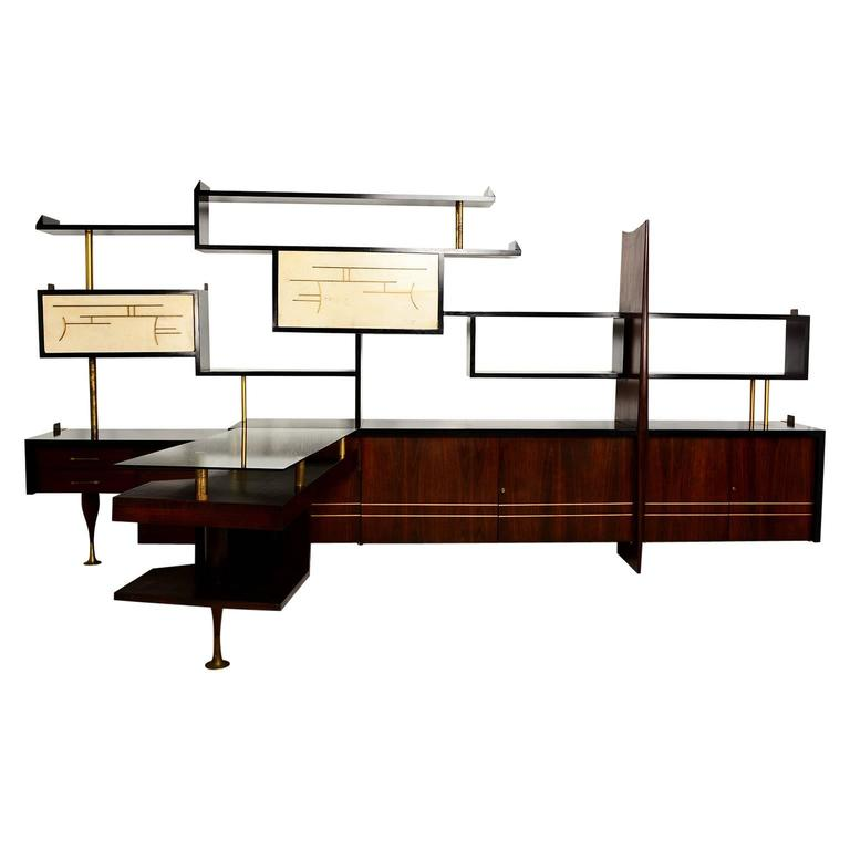 Mexican Modernist Wall Unit with Desk, Attributed to Eugenio Escudero
