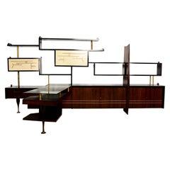 Mexican Modernist Wall Unit with Desk, Attributed to Eugenio Escudero