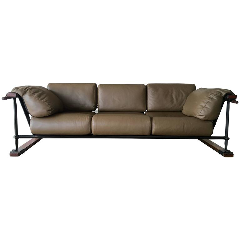 Mid-Century Modern Cleo Baldon Handcrafted 8' Leather Sofa for Terra, circa 1965 For Sale