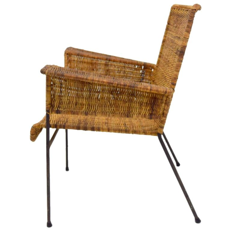 Van Keppel-Green Iron and Wicker Lounge Chair For Sale