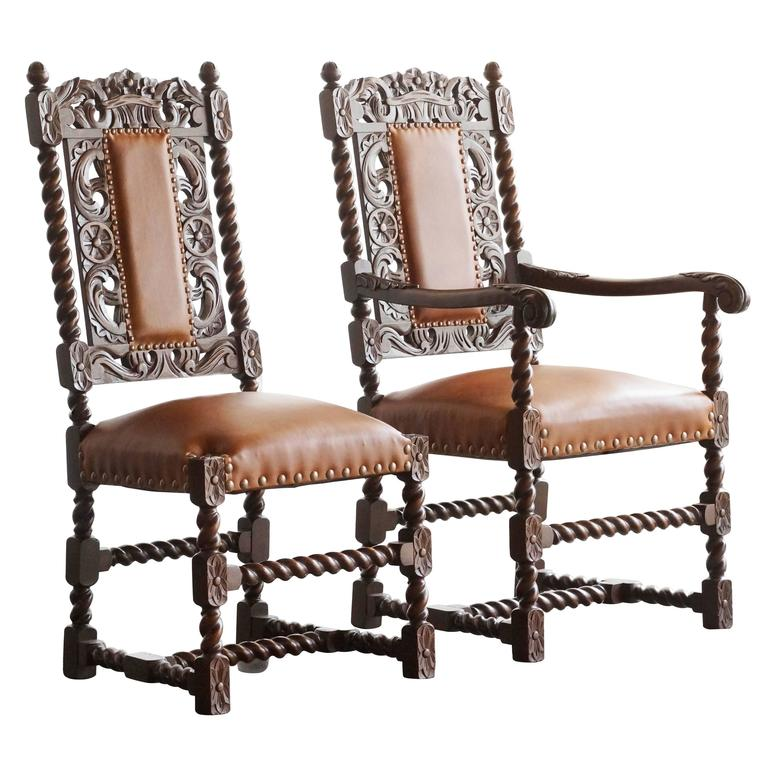 Beau Pair Of Antique Spanish Colonial Style Barley Twist Chairs. 1890s For Sale