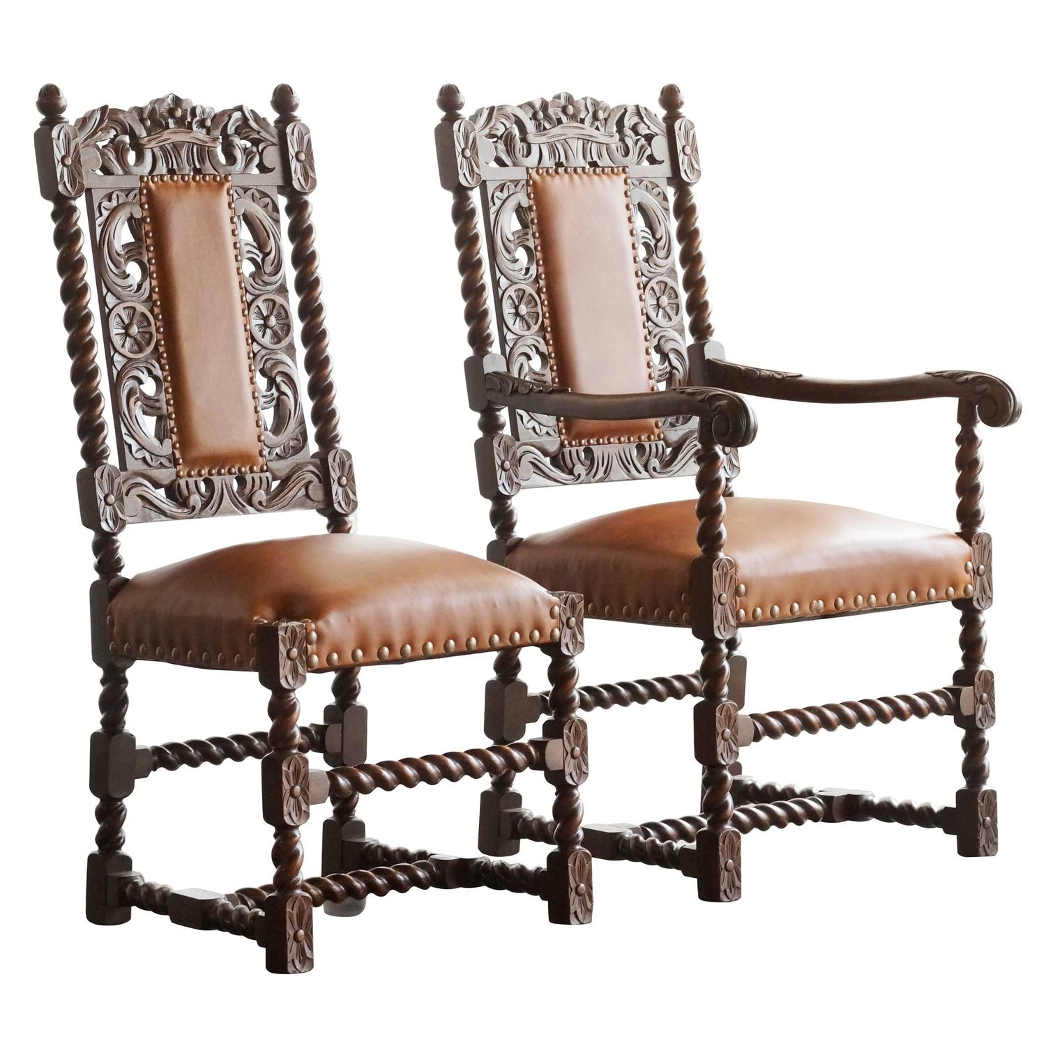 Pair of Antique Spanish Colonial Style Barley Twist Chairs. 1890s at 1stdibs - Pair Of Antique Spanish Colonial Style Barley Twist Chairs. 1890s At