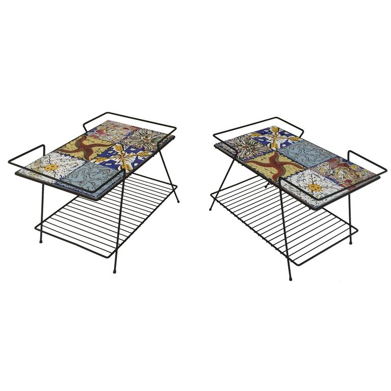 Rare Pair of Salvador Dali Tile Side Tables