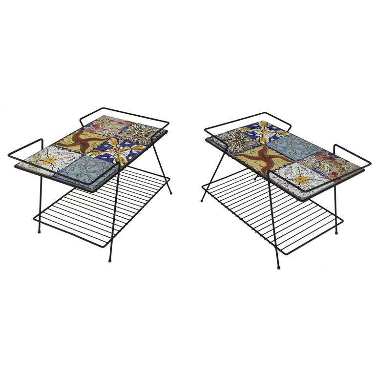 Rare Pair of Salvador Dali Tile Side Tables For Sale