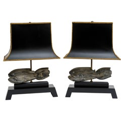 Cerused Fish Sculpture Lamps with Platform Bases