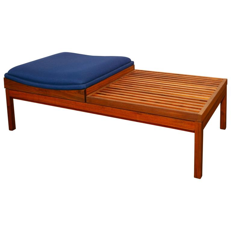 Mid Century Solid Wood Small Platform Slat Bench Or Coffee: Walnut Slat Bench With Seat At 1stdibs