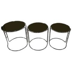 Set of Three Milo Baughman Chrome and Smoked Glass Stacking Tables