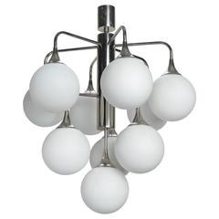 Mid-Century Mod Kalmar Ten Globe and Chrome Light Fixture