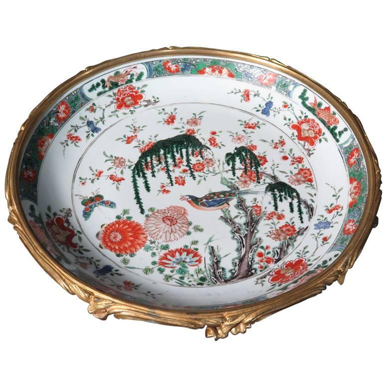 French Ormolu Mounted Kangxi Period Famille Verte Porcelain Centerpiece