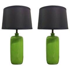 Pair of Mid-Century Modern Green Ceramic Lamps