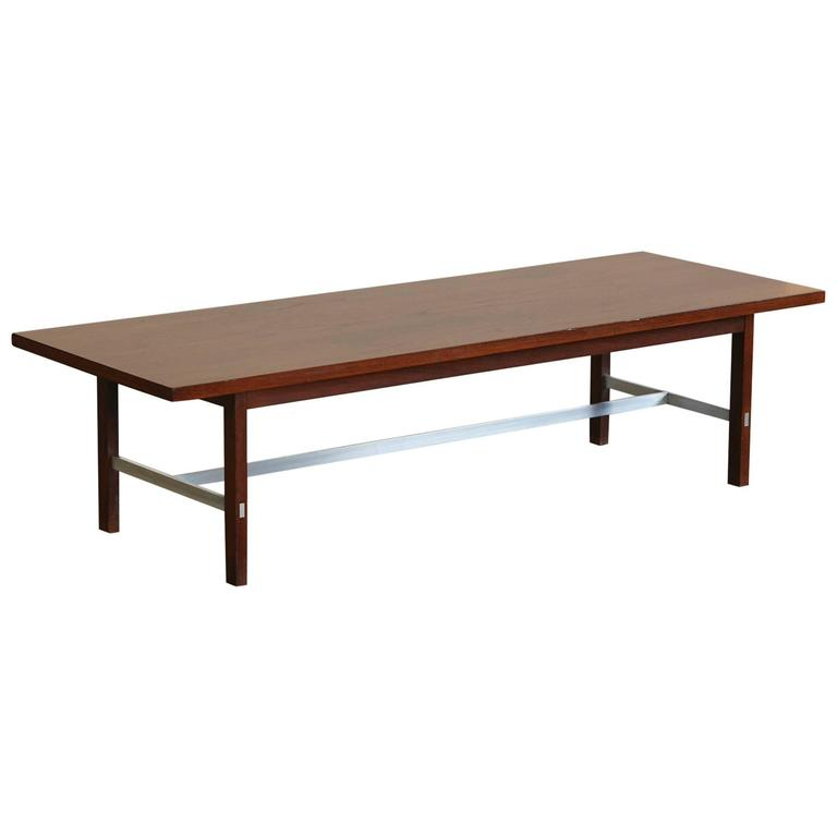 Paul McCobb Walnut and Aluminum Coffee Table for Calvin Furniture For Sale