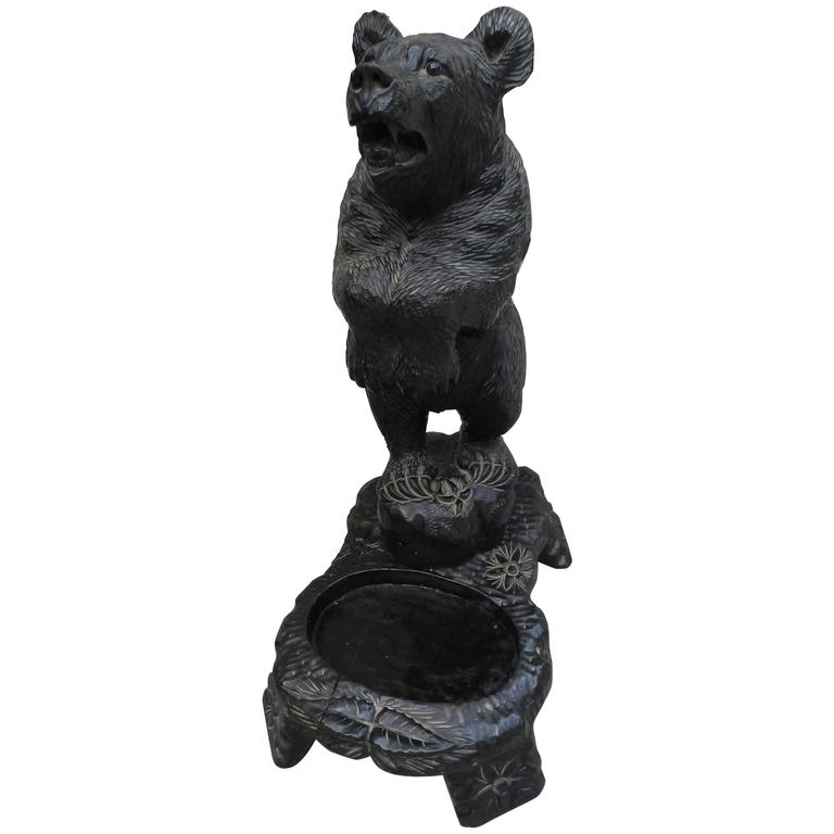 Vintage th century hand carved wooden black forest bear