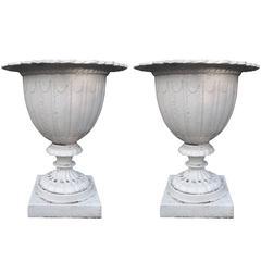 Pair of English Aesthetic Movement Cast Iron Garden Urns, circa 1880