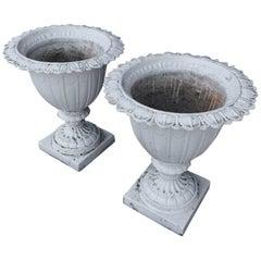 Pair of English Aesthetic Movement Cast Iron Garden Urns, 1880