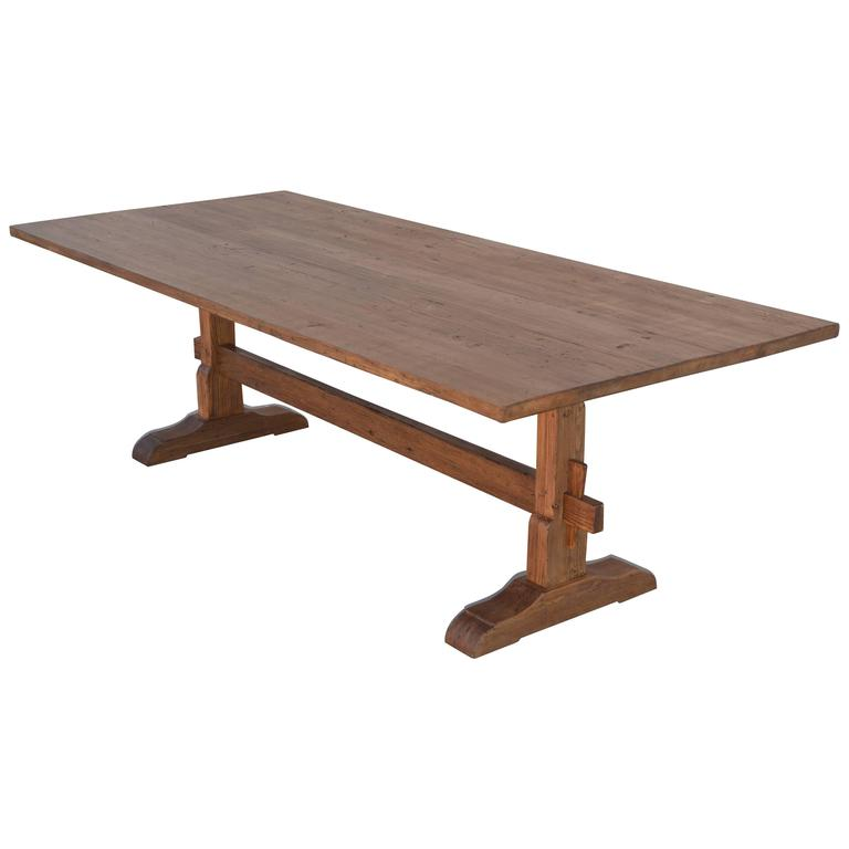 Custom Trestle Table In Reclaimed Vintage Pine, Fully Collapsible! 1