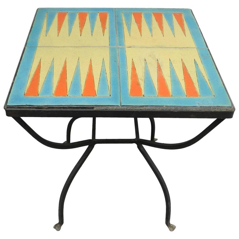 Vintage 1930s D And M Backgammon Iron And Tile Table At