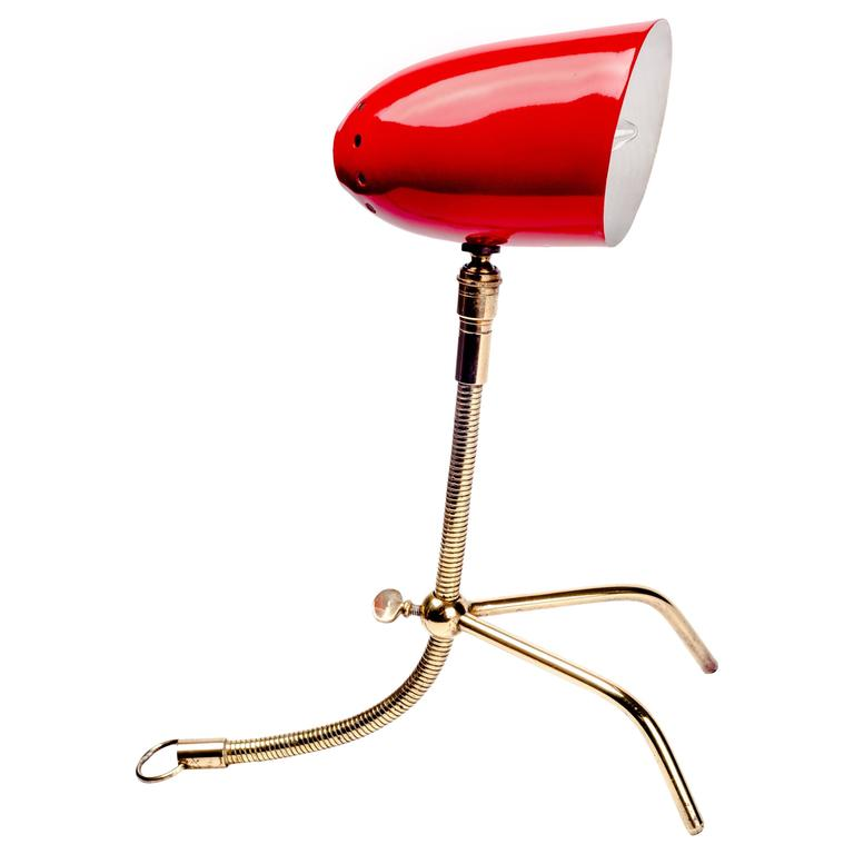 Mid-Century French Red Lamp with Adjustable Brass Neck, 1950s