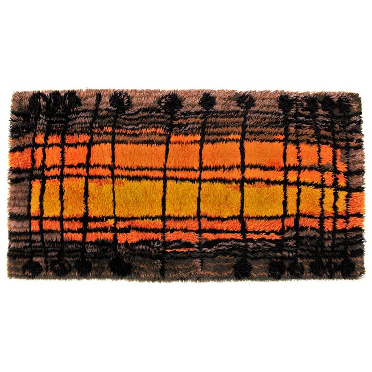 Mid 20th Century Modern Scandinavian Area Rug At 1stdibs: Danish Rya Mid-Century Shag Rug For Sale At 1stdibs