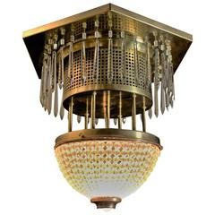 Custom Made Crystal & Brass Ceiling Mount  Light Fixture