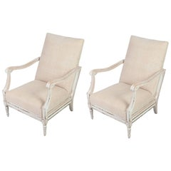Pair of White Painted Fauteuils