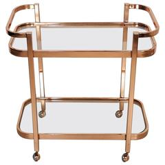 Stunning Bar Cart by Milo Baughman in Rose Gold Copper, 1970s