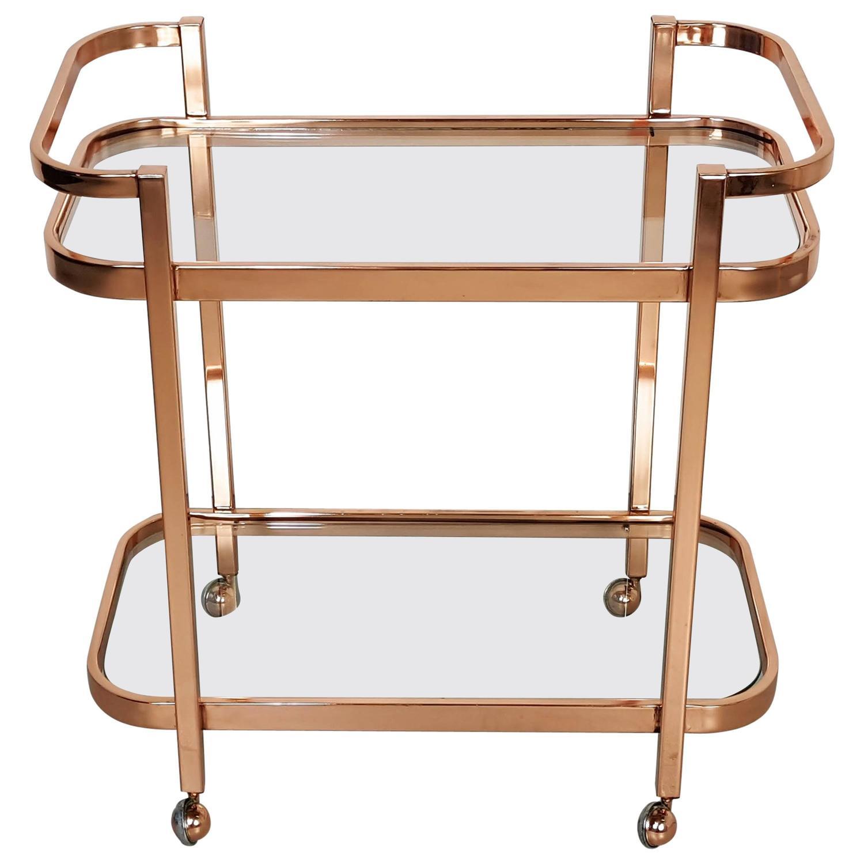 Stunning Bar Cart By Milo Baughman In Rose Gold Copper
