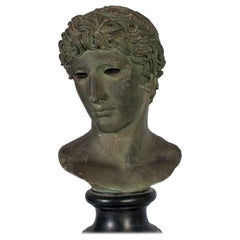 Black Painted Plaster Idealized Head of a Roman Emperor