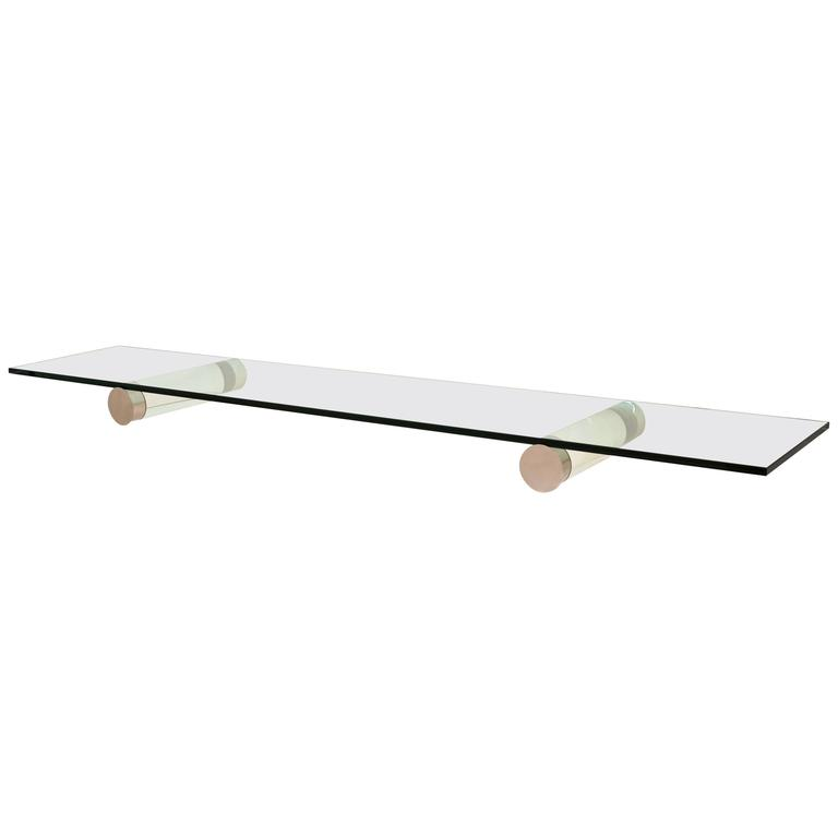 1970s Lucite and Chrome Eight-Foot Floating Glass Top Console / Shelf For Sale