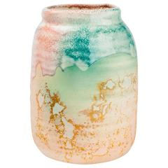 Vintage American Raku Pottery Vase by Tony Evans in green pink and beige,1970s
