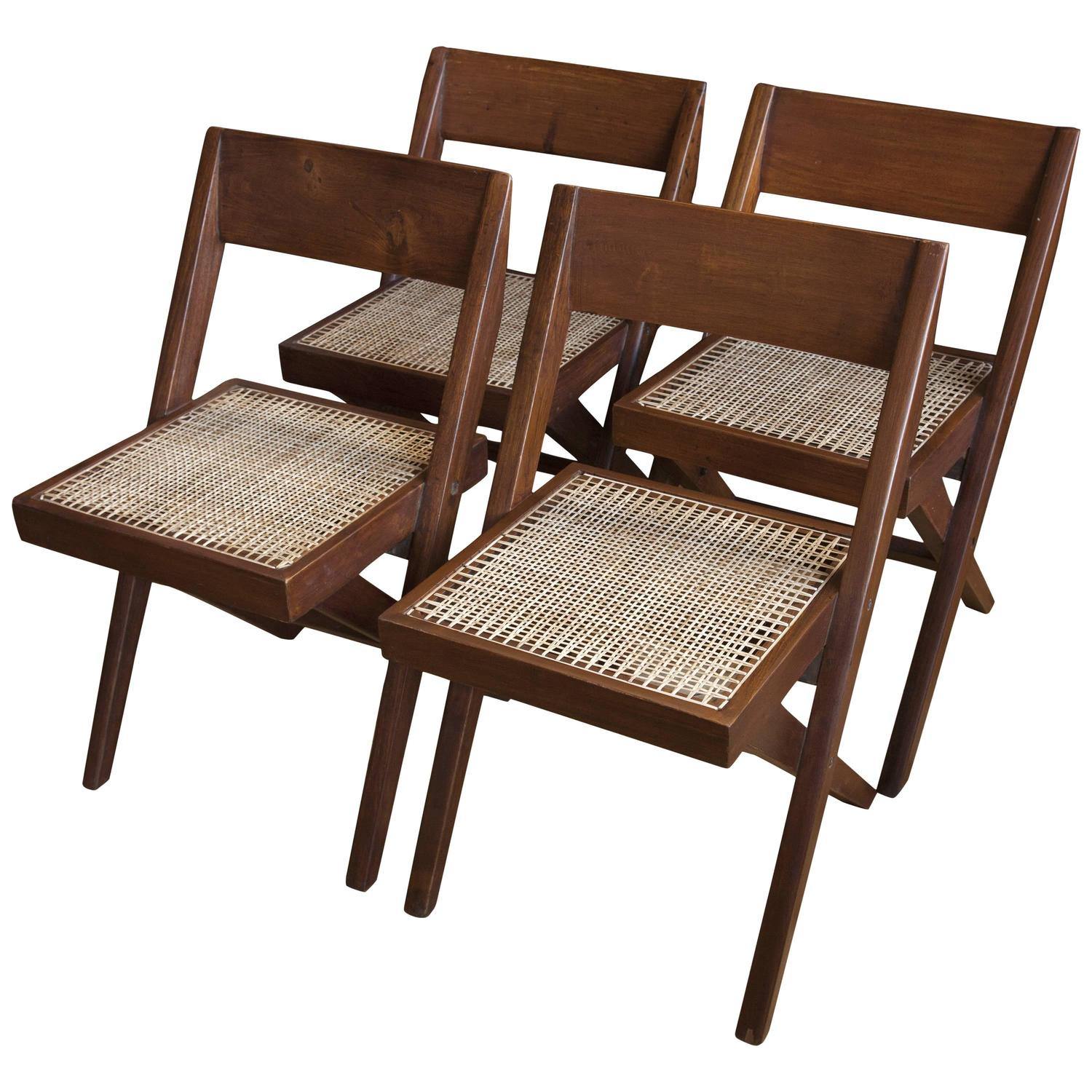 Set of four library chairs from chandigarh by pierre