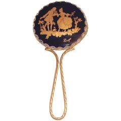 French Limoges Porcelain Hand Mirror for Dresser or Handbag
