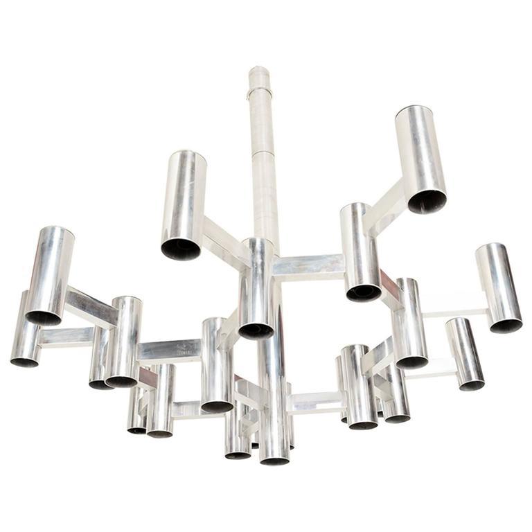 Rare Sciolari Chandelier in Aluminum
