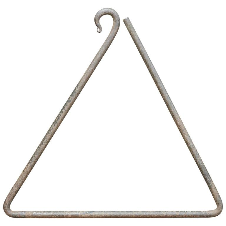 Vintage American Studio Craft Iron Triangle Dinner Bell