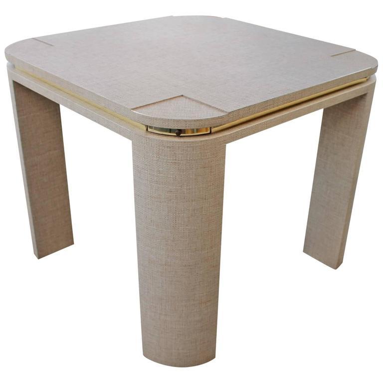 Grasscloth Brass Game Table Vintage Wrapped Linen Karl Springer Style 1