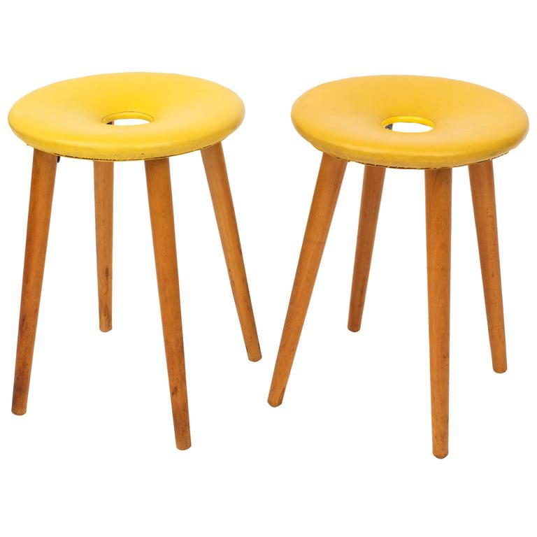 Pair Of Mid Century Modern Donut Stools After Tokukichi