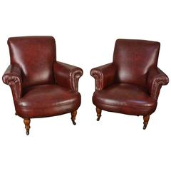 Pair Of Dark Red Leather Armchairs
