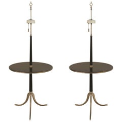 Two 1950s French Ebonized Tabletop Floor Lamps