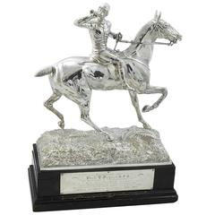 Sterling Silver Equestrian Model of a Mounted Huntsman